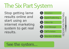 The Six Part System. Stop getting lame results online and start using the internet to get more business.